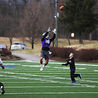 SALEM, VA - DECEMBER 14: University of Mount Union defensive back Game Brown goes up to catch a pass during Stagg Bowl practice at Salem Stadium on December 14, 2017 in Salem,VA. (Photo by Steve Frommell, d3photography.com)