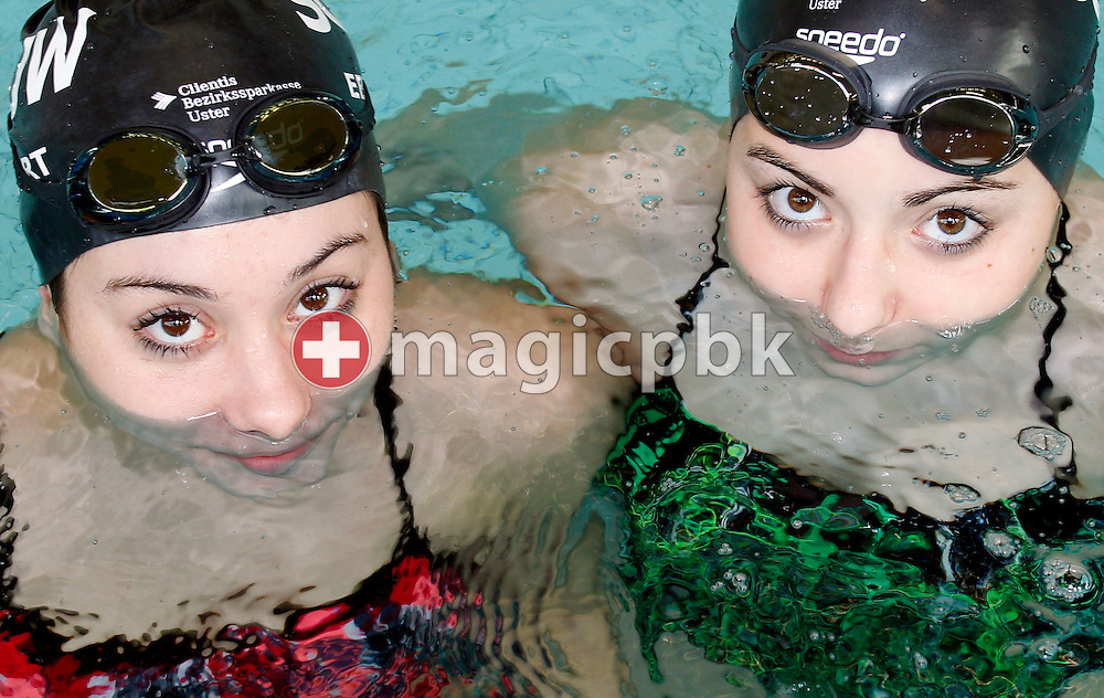 (L-R) SCUW's Jessica EBERHART and Patrizia ZUECK of Switzerland poses for a photo during the Swiss Swimming Championships at the Piscine des Vernets in Geneva, Switzerland, Sunday, April 3, 2011. (Photo by Patrick B. Kraemer / MAGICPBK)
