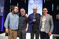 The Chemical Brothers accept their award from Adam Smith on stage during the O2 Silver Clef Awards 2019, Grosvenor House, London, UK, Friday 05 July 2019<br /> Photo JM Enternational