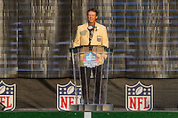 07 August 2010: Former Detroit Lions cornerback and current Pittsburgh Steelers defensive coordinator Dick LeBeau speaks while being enshrined into the Pro Football Hall of Fame in Canton, Ohio.