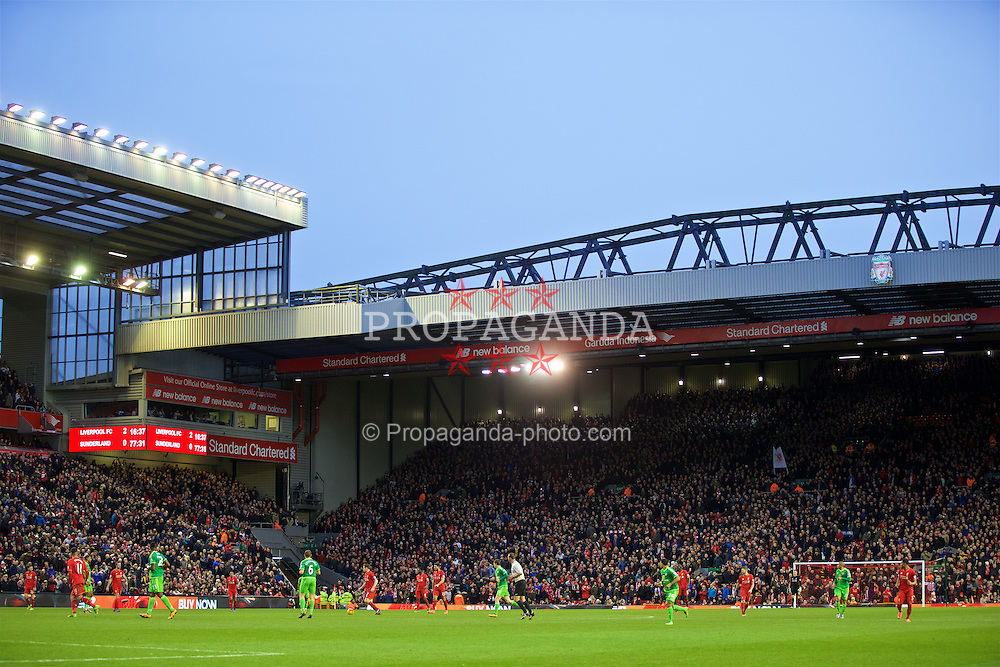LIVERPOOL, ENGLAND - Saturday, February 6, 2016: Liverpool supporters walk out of the ground on 77 minutes to protest against a £77 ticket price during the Premier League match against Sunderland at Anfield. (Pic by David Rawcliffe/Propaganda)