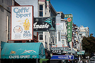 The signs of popular restaurants and night spots including Caffe Sport and Gino and Carlo on Green Street in Noth Beach, San Francisco.
