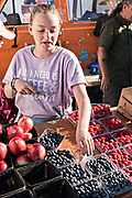 A young girl works at her families farm stand at the weekly Farmers Market in downtown Anchorage, Alaska.