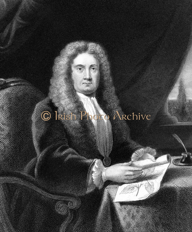 Hans Sloane (1660-1753.  English physician and naturalist.  Founded Chelsea Physic Garden: Secretary to the Royal Society (1693-1713): Donated library of 50,000 books and 3,500 manuscripts to British Museum   Engraving.