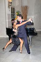 Flavia Cacace; Vincent Simone, Dance Til Dawn West End Show Season Launch, Waldorf Hilton hotel Palm Court, London UK, 15 September 2014, Photo by Richard Goldschmidt