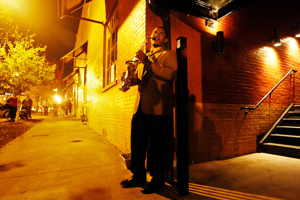 Jonathan Goforth plays his saxophone on Lady Street during Vista Lights Thursday.Columbia, SC 11/18/10 Gerry Melendez/gmelendez@thestate.com