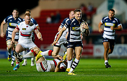 Bristol Rugby Scrum-Half Will Cliff gets away from Doncaster Knights Outside Centre David Clark going on to score a try - Mandatory byline: Rogan Thomson/JMP - 06/11/2015 - RUGBY UNION - Ashton Gate Stadium - Bristol, England - Bristol Rugby v Doncaster Knights - Greene King IPA Championship.