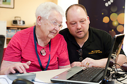 Digital Region Co-Running a series of workshops to equip the elderly with basic computer skills at Bakersfield Court sheltered housing on Longfellow Drive Rotherham - Joan Stagg with Jon Mayo Director of JMLB Genisis..21 March 2011.Images © Paul David Drabble Digital Region Co-Running a series of workshops to equip the elderly with basic computer skills at Bakersfield Court sheltered housing on Longfellow Drive Rotherham<br /> <br /> 21 March 2011.Images © Paul David Drabble