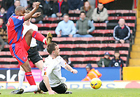 Photo: Alex Pelaez.<br /> Crystal Palace v Luton Town. Coca Cola Championship. 24/02/2007.<br /> Kean of Luton blocks a shot from Morrison of Palace