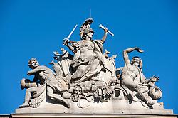 Detail of sculpture on top of German History Museum or Historisches museum in Mitte Berlin