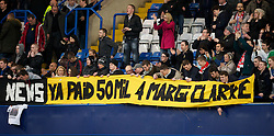 "LONDON, ENGLAND - Sunday, February 6, 2011: Liverpool supporters with a banner mocking Sky Sports News and Chelsea's Fernando Torres: ""Breaking News Ya Paid £50M for Margi Clarke"" during the Premiership match at Stamford Bridge. (Photo by David Rawcliffe/Propaganda)"