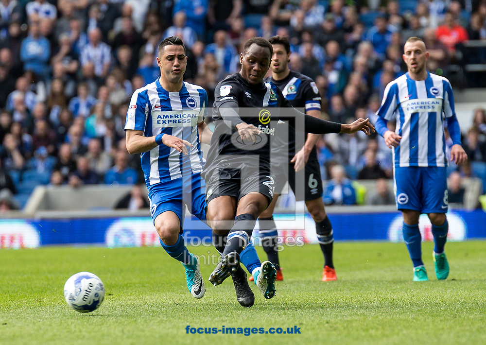 Ryan Nyambe of Blackburn Rovers during the Sky Bet Championship match at the American Express Community Stadium, Brighton and Hove<br /> Picture by Liam McAvoy/Focus Images Ltd 07413 543156<br /> 01/04/2017