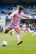 Reading striker Garath McCleary (12) looks to get a cross in to the box during the Sky Bet Championship match between Queens Park Rangers and Reading at the Loftus Road Stadium, London, England on 23 April 2016. Photo by Andy Walter.