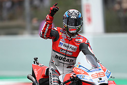 June 17, 2018 - Montmelo, Catalunya, Spain - Jorge LORENZO of Spain and Ducati Team competes celebrates victory during Gran Premi Monster Energy de Catalunya (Grand Prix of Catalunya), MotoGP race, on June 17, 2018 at the Catalunya racetrack in Montmelo, near Barcelona, Spain (Credit Image: © Manuel Blondeau via ZUMA Wire)