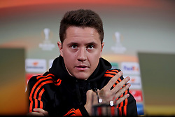 MANCHESTER, ENGLAND - Wednesday, March 16, 2016: Manchester United's Ander Herrera during a press conference at Old Trafford ahead of the UEFA Europa League Round of 16 2nd Leg match against Liverpool. (Pic by David Rawcliffe/Propaganda)