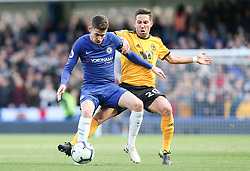 Jorginho of Chelsea holds off a challenge from Joao Moutinho of Wolverhampton Wanderers - Mandatory by-line: Arron Gent/JMP - 10/03/2019 - FOOTBALL - Stamford Bridge - London, England - Chelsea v Wolverhampton Wanderers - Premier League