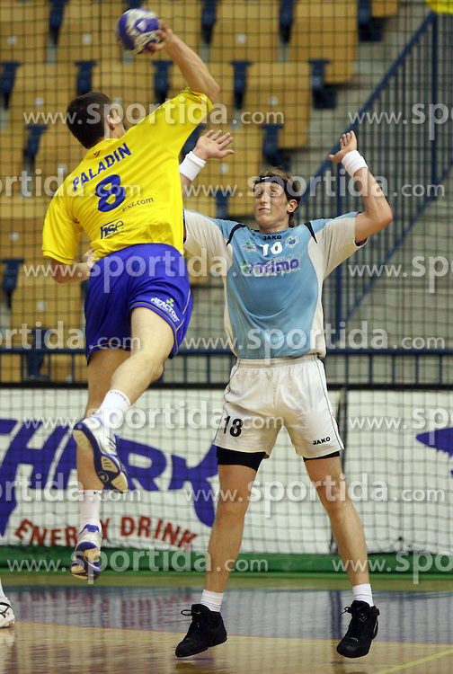 Uros Paladin and David Miklavcic at handball match RK Cimos Koper vs RK Trimo Trebnje in semifinal of Slovenian Handball Cup, on March 29, 2008 in Celje, Slovenia. Won of Cimos Koper 30:23. (Photo by Vid Ponikvar / Sportal Images)