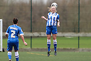 Brighton's Emily Baker attempts to head clear during the FA Women's Premier League match between Forest Green Rovers Ladies and Brighton Ladies at the Hartpury College, United Kingdom on 24 January 2016. Photo by Shane Healey.