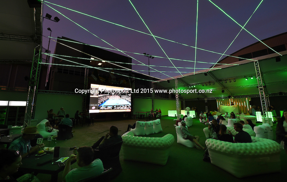 General view of The Heineken Baseline viewing area on Day 3 at the ASB Classic WTA International. Auckland, New Zealand. Wednesday 7 January 2015. Copyright photo: Andrew Cornaga/www.photosport.co.nz