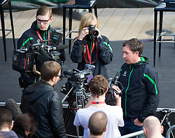 LIVERPOOL, ENGLAND - Thursday, April 10, 2014: Robbie Fowler gives an interview ahead of the launch of the new Liverpool FC Warrior home kit for 2014/2015 at the Liverpool One shopping centre. (Pic by David Rawcliffe/Propaganda)