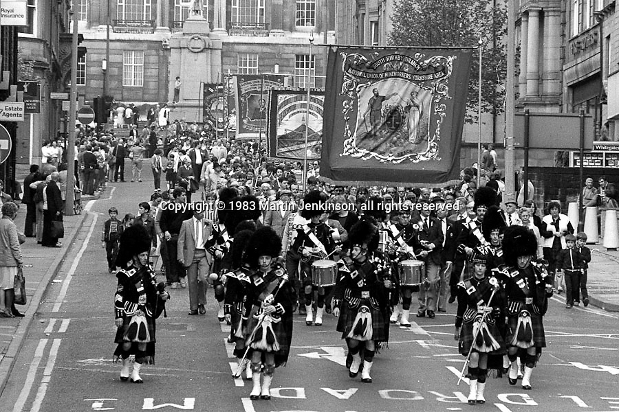 South Kirkby, Ferrymoor Riddings and Royston Drift banners, 1983 Yorkshire Miner's Gala. Barnsley