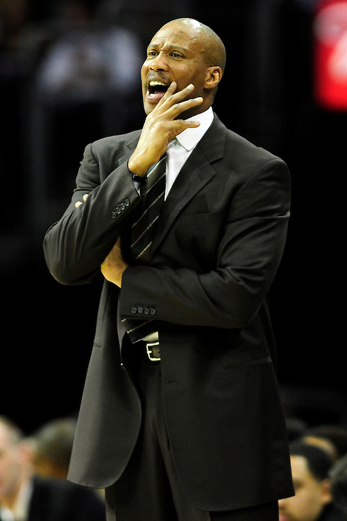 Feb. 25, 2011; Cleveland, OH, USA; Cleveland Cavaliers head coach Byron Scott yells to his players during the second quarter against the New York Knicks at Quicken Loans Arena. Mandatory Credit: Jason Miller-US PRESSWIRE