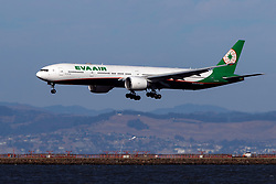 Boeing 777-36N(ER) (B-16736) operated by EVA Air landing at San Francisco International Airport (KSFO), San Francisco, California, United States of America