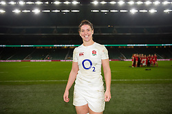 Sarah Hunter of England poses for a photo after the match - Mandatory byline: Patrick Khachfe/JMP - 07966 386802 - 26/11/2016 - RUGBY UNION - Twickenham Stadium - London, England - England Women v Canada Women - Old Mutual Wealth Series.