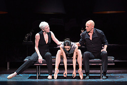"© Licensed to London News Pictures. 14/04/2015 London, England. L-R: Bernice Coppieters, Diana Vishneva and Gaetan Morlotti. Diana Vishneva, star of the Mariinsky Ballet and the American Ballet Theatre, performs the piece ""Switch"" at a photocall for the UK premiere of Diana Vishneva: On the Edge at the London Coliseum. The show runs from for three performances on 14, 16 and 18 April 2015. Dancers: Diana Vishneva, Bernice Coppieters and Gaetan Morlotti. Choreography by Jean-Christophe Maillot. Diana Vishneva's costume was created by Karl Lagerfeld. Photo credit: Bettina Strenske/LNP"