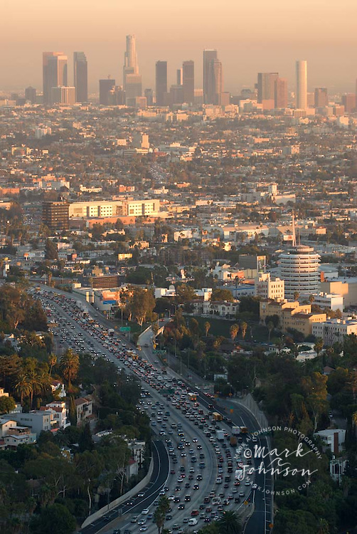 Los Angeles from Mulholland Drive, Downtown in background, 101 Freeway in foreground, Los Angeles, California