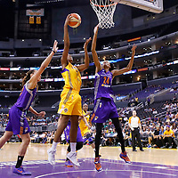 24 August 2014: Los Angeles Sparks forward/center Sandrine Gruda (7) goes for the layup over Phoenix Mercury center Brittney Griner (42) during the Phoenix Mercury 93-68 victory over the Los Angeles Sparks, in a Conference Semi-Finals at the Staples Center, Los Angeles, California, USA.