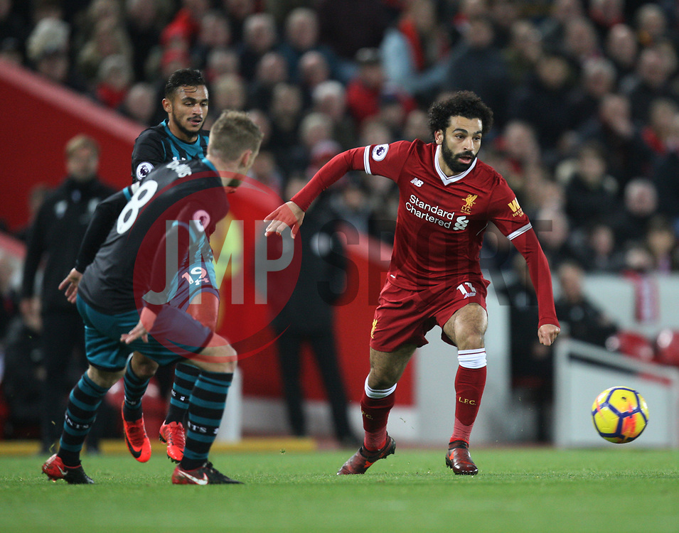 Mohamed Salah of Liverpool (R) in action - Mandatory by-line: Jack Phillips/JMP - 18/11/2017 - FOOTBALL - Anfield - Liverpool, England - Liverpool v Southampton - English Premier League