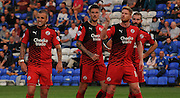 Jimmy Smith, Matt Harrold, Sonny Bradley and Joe McNerney await the corner during the Capital One Cup match between Peterborough United and Crawley Town at London Road, Peterborough, England on 11 August 2015. Photo by Michael Hulf.