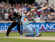 Amita Sharma crumples to a Suzie Bates beamer during the ICC Women's World Twenty20 Cup semi-final between New Zealand and India at Trent Bridge. Photo © Graham Morris (Tel: +44(0)20 8969 4192 Email: sales@cricketpix.com)