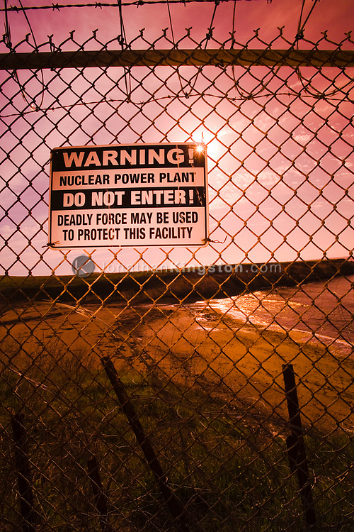 A view of a 'do not enter' sign posted on a chain link barbed wire fence near a nuclear power plant at the edge of Montana De Oro State Park near Morro Bay, California. Since 9/11 security around nuclear power plants has been an issue of concern for both the public and private sectors