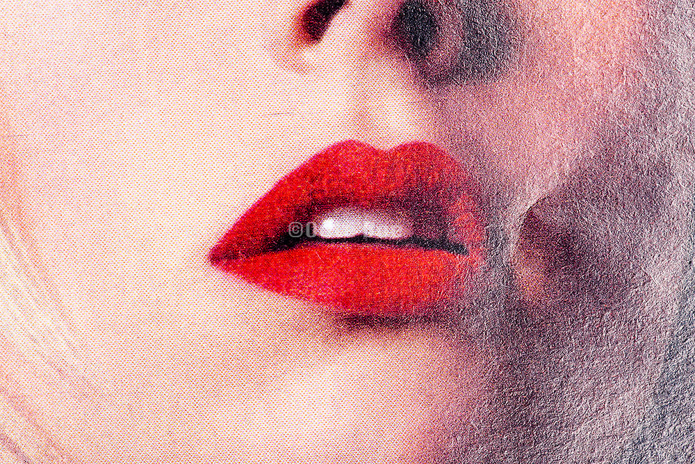 close up mouth with red lipstick with halftone print dots