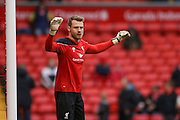 Liverpool goalkeeper Simon Mignolet  during the Barclays Premier League match between Liverpool and Sunderland at Anfield, Liverpool, England on 6 February 2016. Photo by Simon Davies.
