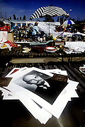 A poster of Lenin lies on a table at a flea market in Budapest,Hungary.