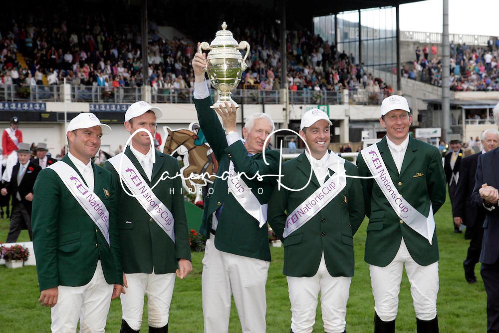 Team Ireland: McMahon Clem, Moloney Richard, Kerins Darragh, O' Connor Cian<br /> Dublin Horse Show 2012<br /> © Hippo Foto - Beatrice Scudo
