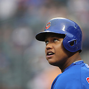 Starlin Castro, Chicago Cubs, preparing to bat during the New York Mets Vs Chicago Cubs MLB regular season baseball game at Citi Field, Queens, New York. USA. 30th June 2015. Photo Tim Clayton