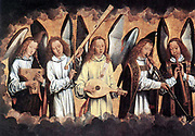 Angel Musicians (left panel), 1480s. Oil on wood. Hans Memling or Memlin (c1430-1494) German-born Early Netherlandish painter. Angels surrounded by clouds making music on various instruments. Christian
