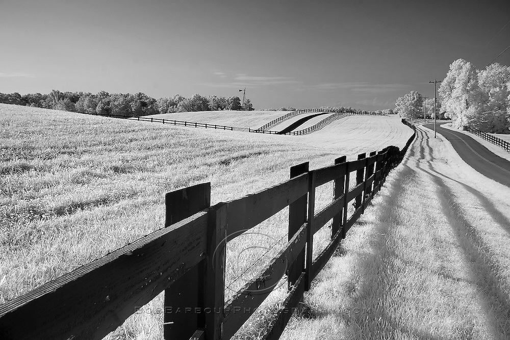 Infrared photo of hay field and fence Kentucky