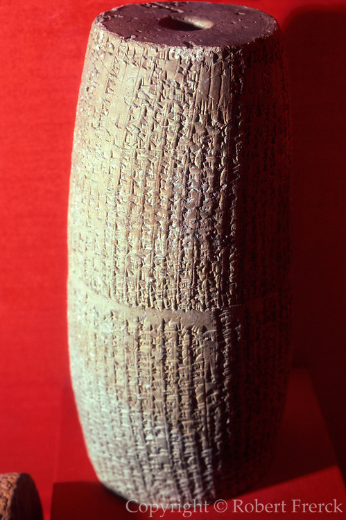 TURKEY, ISTANBUL Museum of the Ancient Orient; Sumerian clay cylinder of Nabonidus the King of Babylon from 555BC
