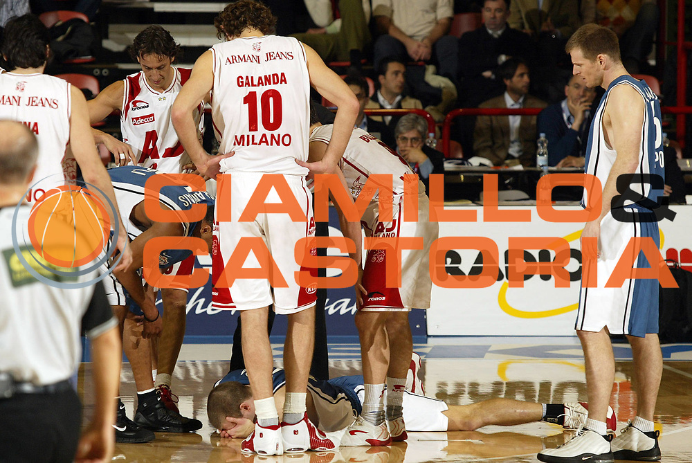DESCRIZIONE : Forli Lega A1 2005-06 Coppa Italia Final Eight Tim Cup Armani Jeans Milano Carpisa Napoli <br /> GIOCATORE : Rocca <br /> SQUADRA : Carpisa Napoli <br /> EVENTO : Campionato Lega A1 2005-2006 Coppa Italia Final Eight Tim Cup Quarti Finale <br /> GARA : Armani Jeans Milano Carpisa Napoli <br /> DATA : 17/02/2006 <br /> CATEGORIA : Infortunio <br /> SPORT : Pallacanestro <br /> AUTORE : Agenzia Ciamillo-Castoria/E.Pozzo