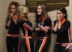 June 9, 2010; Philiadelphia, PA; USA;  The Flyers girls celebrate a game tying goal during the third period of Game 6 of the Stanley Cup Finals at the Wachovia Center.