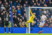 David Button (GK) (Brighton) saves the ball during the FA Cup fourth round match between Brighton and Hove Albion and West Bromwich Albion at the American Express Community Stadium, Brighton and Hove, England on 26 January 2019.