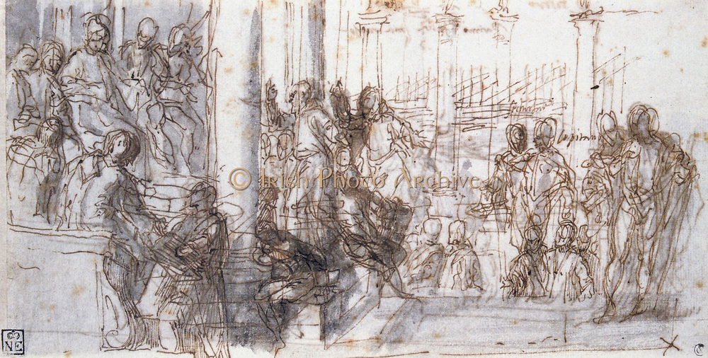 Peter the Hermit before Doge Vital Michele' pen, ink and wash. Paolo Veronese (1528-1588) Italian Renaissance painter. Peter preached the First Crusade.  in 1099 207 vessels sailed from Venice in support. War Christian Islam