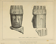 Head of a colossal statue. Aymaras ruins at Tiaguanaco near La Paz. (Bolivia) [Tiwanaku (Tiahuanaco or Tiahuanacu) is a Pre-Columbian archaeological site in western Bolivia near Lake Titicaca and one of the largest sites in South America.] sketch From the book 'Voyage dans l'Amérique Méridionale' [Journey to South America: (Brazil, the eastern republic of Uruguay, the Argentine Republic, Patagonia, the republic of Chile, the republic of Bolivia, the republic of Peru), executed during the years 1826 - 1833] 3rd volume By: Orbigny, Alcide Dessalines d', d'Orbigny, 1802-1857; Montagne, Jean François Camille, 1784-1866; Martius, Karl Friedrich Philipp von, 1794-1868 Published Paris :Chez Pitois-Levrault et c.e ... ;1835-1847