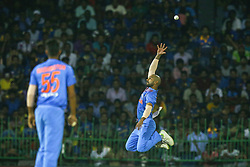 March 6, 2018 - Colombo, Sri Lanka - Indian cricketer Shikhar Dhawan leaps in the air to take a catch during the 1st T20 cricket match of NIDAHAS Trophy between Sri Lanka and India at R Premadasa cricket ground, Colombo, Sri Lanka on Tuesday 6 March 2018  (Credit Image: © Tharaka Basnayaka/NurPhoto via ZUMA Press)