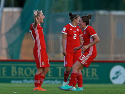 NEWPORT, WALES - Tuesday, June 12, 2018: Wales' Jessica Fishlock (left) and Rachel Rowe (right) celebrate at the final whistle after beating Russia 3-0 during the FIFA Women's World Cup 2019 Qualifying Round Group 1 match between Wales and Russia at Newport Stadium. (Pic by David Rawcliffe/Propaganda)
